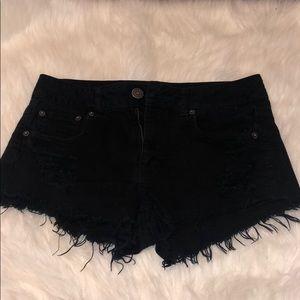 AE Black Distressed Shorts